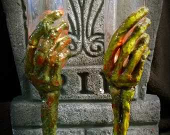 Champagne Flute : Zombie Undead Corpse Decayed Bloody Creepy Zombie Hand Halloween Horror Drinking Glass - Handmade Dark Art