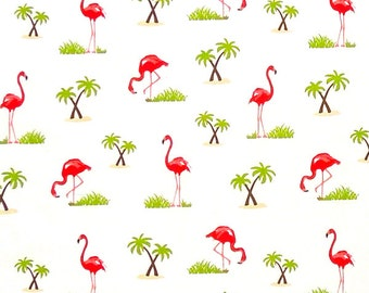 Pink Flamingoes Fabric by Riley Blake, Pink Flamingo Cotton Fabric by Riley Blake for Patchwork and Crafts