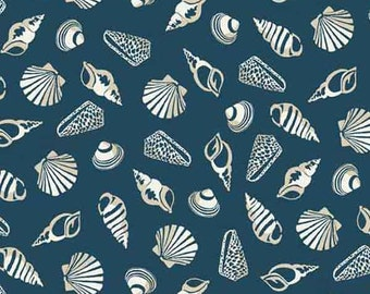 Shells on Blue Cotton Fabric by Makower from their Sea View Collection, Sea Shells on Dark Blue Patterned Cotton Fabric