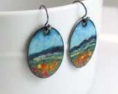 Colorful Jewelry Set, Copper Enameled Earrings, Impressionist Meadow Landscape, Set or Each, Ready to Ship, Deluxe Gift