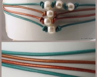 Heart Sale More Pearls and Leather Chokers, Choose Leather Color and One or Three Pearls, Rustic Pearl Necklace, Nature Fashion for Summer