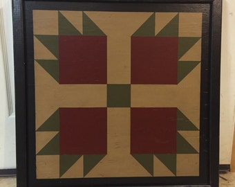 PRiMiTiVe Hand-Painted Barn Quilt - 3' x 3' Bear's Paw Pattern