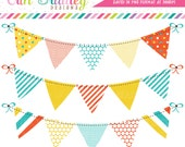 Blue Orange and Yellow Digital Bunting Clipart Set Polka Dots Stripes & Chevron Patterns Instant Download