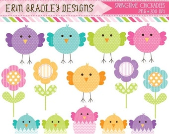 50% OFF SALE Spring Chickadees and Eggs Clip Art Set with Flowers Clipart Commercial Use