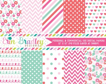 Floral Digital Paper Pack in Pink and Aqua Blue Flowers Hearts Chevron Stripes Doodles Polka Dotted Patterns