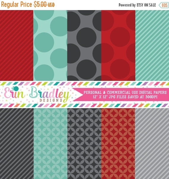 60% OFF SALE Instant Download Digital Scrapbook Paper Personal and Commercial Use Red Teal and Charcoal Grey