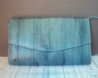 Teal Blue Genuine Snake Skin Leather Purse Boho Reptile Shoulder Bag