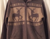Vintage JONES 100% wool Sweater Cardigan with zipper deer theme brown and beige Womans Large