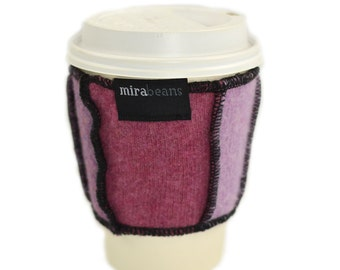 Coffee Cup Cozy in Upcycled Wool - Java Jacket - Pink Mauve Lilac Purple