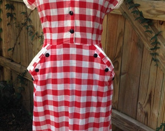 Vintage 1950's Red Picnic Gingham Dress with Black Button Detail