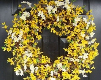 FALL WREATH SALE Year Round Wreath- Spring Forsythia Wreath- Forsythia Spring Wreath-Door Wreath 24 inch
