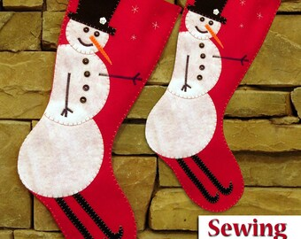 NEW | Skiing Snowman Christmas Stocking Sewing Kit | Sewing kit | Do it yourself Tutorial | 2 sizes available - Ready to ship