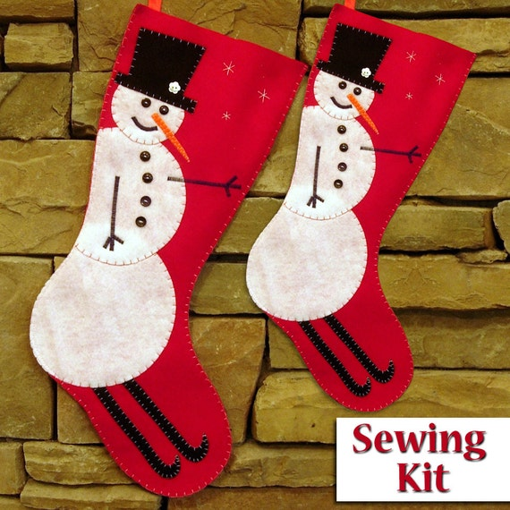 New skiing snowman christmas stocking sewing kit sewing kit new skiing snowman christmas stocking sewing kit sewing kit do it yourself tutorial 2 sizes available ready to ship from tiffinydesigns on etsy solutioingenieria Images