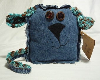 Nora Grunt- handmade, upcycled, friendly monster