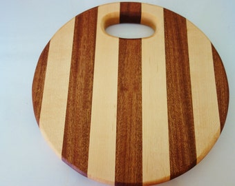 Round Cutting Board, Hand Crafted Round Cheese Board, Handled Cutting Board, Handmade Multi Color Cutting Board, Cheese Board, Cutting Board