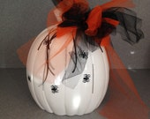 Tall and slim white Halloween Pumpkin ready for fall