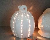Thanksgiving Wedding white luminary Pumpkin centerpiece candle holder with electric cord #PL1108