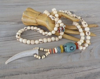 Long Antler Necklace, Colorful, Bohemian, Mala Style Necklace, Off-White Acai Beads, Handmade