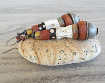 Long Tribal Earrings, The Cairn, Stacked Bead Earrings, Earthy, Rust and Bone, Handmade