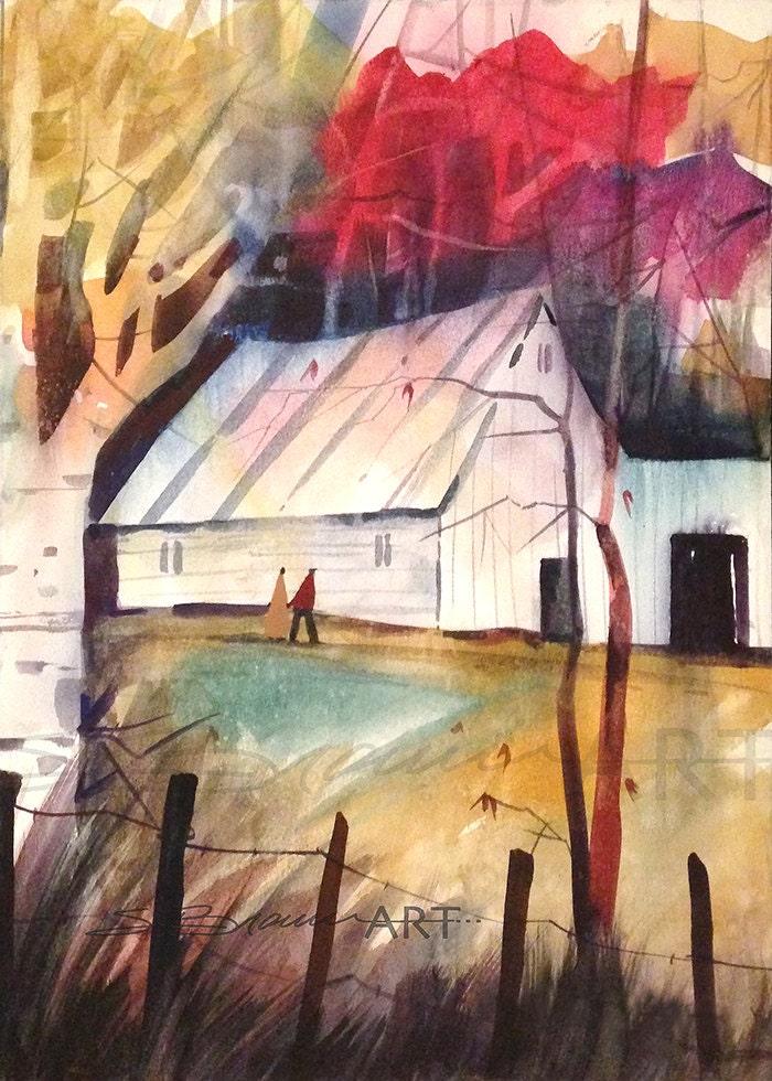 Autumn Barn Watercolor Print Autumn Art Contemporary Art
