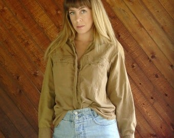 Brown Cotton Button Down Scouts Shirt - Vintage 80s - S M