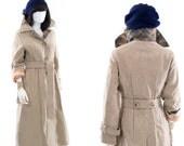 Wool Trench Coat Long Winter Vintage Beige Camel Tan Peacoat Dress Jacket
