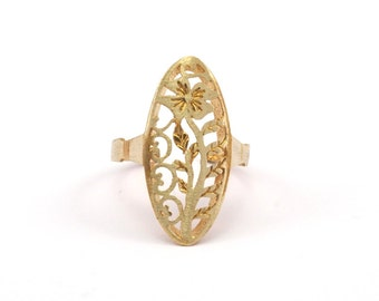 Brass Flower Ring - 4 Raw Brass Adjustable Flower Rings N041