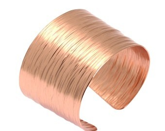 Bark Copper Cuff Bracelet, Rose Gold Womens Bracelets, Wide Copper Cuff, Statement Copper Cuff, Copper Bracelets, 7th Anniversary Gifts