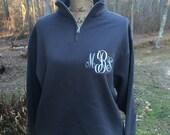 Monogrammed Sweatshirt. Long sleeve, quarter zip cadet collar sweatshirt.  S, M, L, XL, XXL