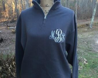 Monogrammed Sweatshirt. Long sleeve, quarter zip cadet collar sweatshirt.  S, M, L, XL, 2X, 3X