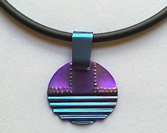 Anodized Niobium Twilight Textured Pendant Necklace