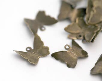 Antiqued Bronze Lead Free Butterfly Pendant Charm Findings 12mm (30)