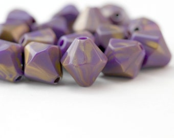 Purple Gold Wash Faceted Acrylic Bicone Beads 15mm (16)
