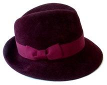 Men's Felt Hat- Fedora Hat For Men- Burgundy Hat- Winter Hat- Winter Accessories- Fall Hat- Dress Hat For Men- Fashion Hat- Gift For Men