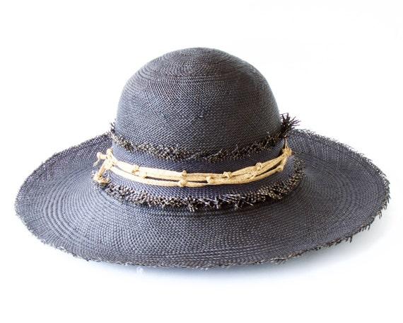 Black Wide Brimmed Straw Hat Floppy Panama Sun Hat Beach Hat Boho Festival Sunhat 5 Inch Brim Women's Hat Men's Hat Travel Hat Rustic Style