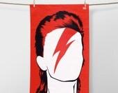 David Bowie Tea towel, Bowie Tea towel, Bowie Merchandise, Music Tea towel, Ziggy Stardust Tea towel, Aladdin Sane Tea towel, Red Tea towel