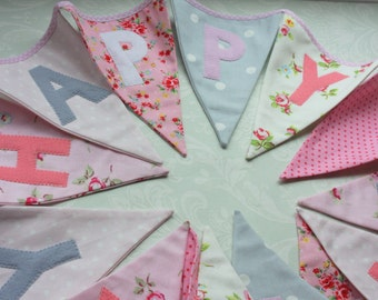 Fabric Bunting with Happy Birthday Banner Pink Roses Grey Polka Dots Custom made to order Birthday Party Wedding Celebration Photo prop