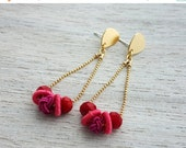 Sale 20% OFF Frida Earrings, gold silver dangle posts, colorful cherry red beaded jewelry, Frida Kahlo Mexican inspired