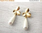 Sale 20% OFF Nagoya Earrings with Drop Pearl in Gold, wedding bridal flower post jewelry, holiday gift for her under 50