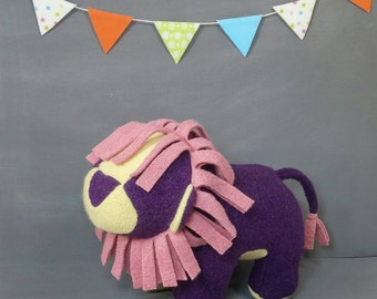 Purple Lion, Handmade, Stuffed Animal, Toy, Children, Plush