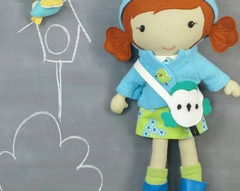 "Handcrafted STUDIO DOLL 15"" - Girl in the Hooded Jacket. Handmade, Doll, Girl, Toy, Plush, Children, Gift, Bird"