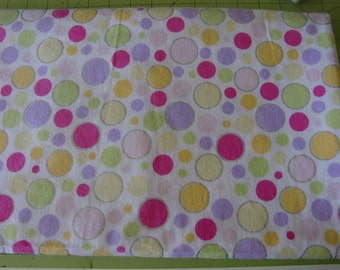 Handmade baby girl dots receiving/crib/swaddling blanket