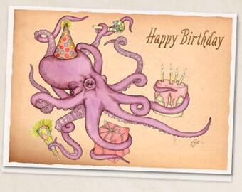 """Birthday Octopus 5""""x7"""" blank greeting card"""