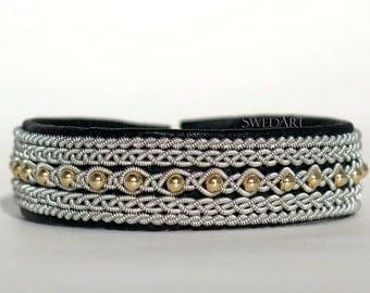 SwedArt B176 Sunrise Swedish Sami Leather Bracelet with 14K Gold-Filled Beads and Pewter/Silver Braid Black MEDIUM