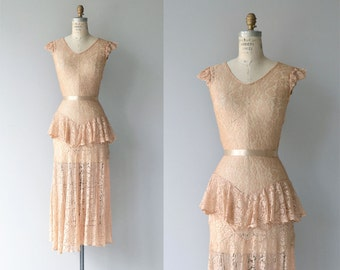 Lizette lace dress | vintage 1930s dress | lace 30s long dress