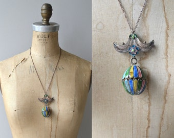 Antique Victorian Vinaigrette Perfumer necklace   Victorian enamel jewelry   filigree 1900s enamel pendant