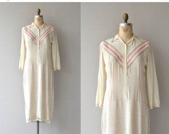 25% OFF.... Sofiya silk and linen dress | vintage 1920s dress | silk 20s dress