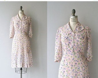 25% OFF.... Country Bouquet dress | vintage 1930s dress | floral print 30s day dress