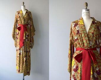 Aki No Nanakusa kimono | vintage floral kimono | long silk 50s kimono