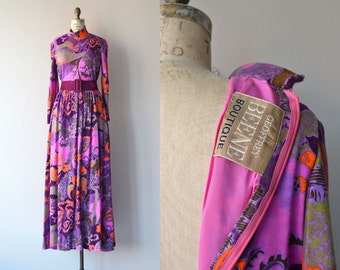 Geoffrey Beene dress | vintage 1970s maxi dress | psychedelic wool 70s dress